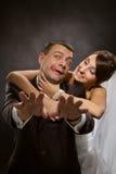 Litigare della coppia sposata e combattimento arrabbiati Immagini Stock Libere da Diritti