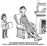 Litigation for Over Socialization. Legal cartoon showing son saying to mother, 'I'm bringing litigation against everyone who is responsible for my overly Stock Images