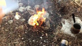 Liting fire for small bonfire in the woods stock video footage