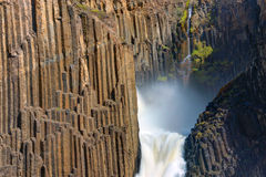 The Litlanesfoss in Iceland. Detail of the Litlanesfoss waterfall with its basaltic columns in Iceland Stock Image