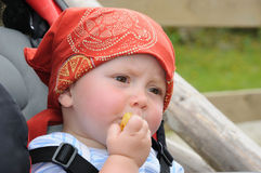 Litle baby eating biscuit Royalty Free Stock Photography