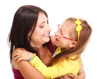 Litle baby laughing toddler girl playing mom doing fun Stock Images