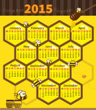 Litle bee calendar 2015. Bee and honeycomb calendar 2015 on yellow background Vector Illustration
