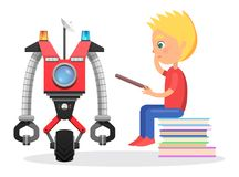 Litle Boy Sit with Direction to Robot Illustration. Little blond boy sit on pile of books with direction to robot with satellite, colorful flashers, wheel and Stock Images