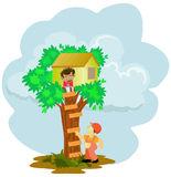 Litle boy stuck on the tree house. Illustration of little boy stuck on the tree house, isolated in white Stock Image