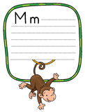 Litle funny monkey on lians. Alphabet M. Children vector illustration of little funny monkey on lians. Alphabet M. Including frame with lines and place for Royalty Free Stock Images