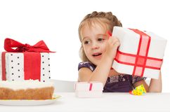 Litle girl with birthday cake Stock Images