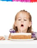 Litle girl with birthday cake Royalty Free Stock Photo