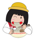 Little girl eat ramen. Japan noodle yummy pasta meal royalty free illustration