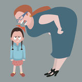 Litle girl holding back tears while woman yelling at her Stock Photography