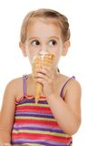Litle girl with ice cream Royalty Free Stock Photo