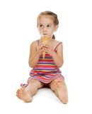 Litle girl with ice cream Royalty Free Stock Photos