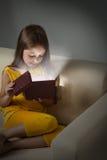 Litle girl open gift box Stock Image