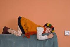 Litle Girl in orange dress Stock Photo