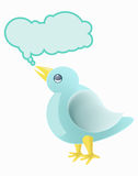 Litle tweet bird and buble text icon Stock Photography