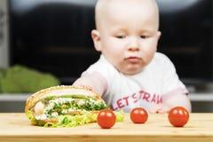 Litlle婴儿白种人男孩设法窃取一根不健康的可口热狗用从桌的蔬菜沙拉 免版税图库摄影