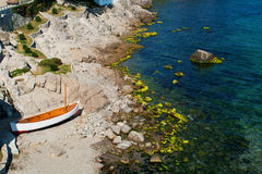 Litlle boat on the beach Royalty Free Stock Images