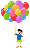 Litlle boy with baloons. Over white background Stock Photography
