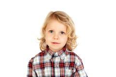 Litlle chłopiec z szkockiej kraty koszula Obraz Stock