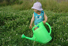 Litlle girl and watering-pot. Litlle girl in clover meadow Royalty Free Stock Photo