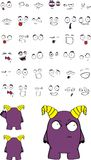 Litlle monster cartoon expressions set Stock Photography