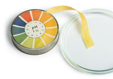 Litmus paper and beaker Royalty Free Stock Images