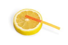 Litmus paper on lemon slice Stock Images