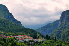Litochoro Greece. Entrance to the Mount Olympus trekking routes Stock Photo
