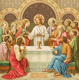 A litografia da última ceia em Missale Romanum por artista desconhecido com as iniciais F M S de um fim de 19 centavo foto de stock royalty free