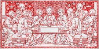 Litografiet av den sista kvällsmålet i Missale Romanum av den okända konstnären med initialerna F M S från slut av 19 cent Royaltyfri Fotografi