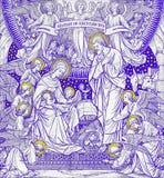 Litografiet av Kristi födelse i Missale Romanum av den okända konstnären med initialerna F M S från slut av 19 cent Arkivbild