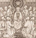 Litografiet av pingstdagen i Missale Romanum av den okända konstnären med initialerna F M S 1889 arkivfoton