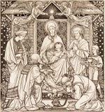 Litografiet av tre de tre vise männen i Missale Romanum av den okända konstnären med initialerna F M S från slut av 19 cent Royaltyfri Bild