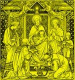 Litografiet av tre de tre vise männen i Missale Romanum av den okända konstnären med initialerna F M S från slut av 19 cent Royaltyfria Foton