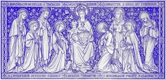 Litografiet Madonna bland oskulderna planlade vid den okända konstnären med initialerna F M S 1888 Royaltyfria Foton