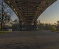 Litomerice bridge with sunset in autumn. Afternoon Stock Photos