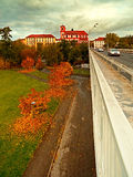 Litomerice city, Czech rebublic - october 29, 2016: detail of autumnal city park when viewed from the bridge Tyrsuv most after rec Stock Photography