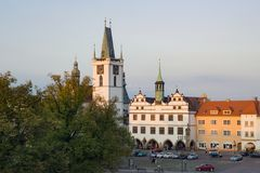 Litomerice square place church tower, historical mediaeval city town. Czech republic Royalty Free Stock Photo