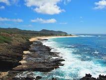 Litoral áspero de barlavento de Oahu Fotos de Stock Royalty Free