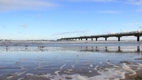 Litoral Báltico com onda do mar e a ponte longa foto de stock royalty free