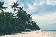 Litoral bonito, opinião de turquesa do mar com palmeiras, Fotografia de Stock Royalty Free