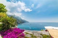 Litoral colorido em Positano mundialmente famoso fotos de stock royalty free