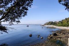 Litoral da baía de Meadfoot fotografia de stock
