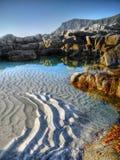 Litoral da beleza, ilhas de Lofoten, Noruega fotografia de stock