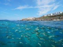Litoral da Espanha e para pescar mediterrâneo subaquático imagens de stock royalty free