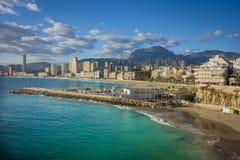 Litoral de Benidorm, Alicante, Espanha foto de stock royalty free
