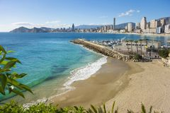 Litoral de Benidorm, Alicante, Espanha foto de stock