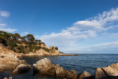 Litoral do mar Mediterrâneo em Lloret de Mar Fotografia de Stock Royalty Free