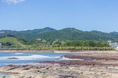Litoral e praia da tábua de lavar do ` s do diabo na ilha de Aoshima, Miyazak fotos de stock royalty free