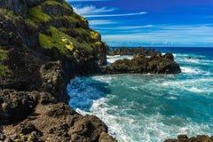 Litoral em Porto Moniz, ilha de Madeira, Portugal imagens de stock royalty free
